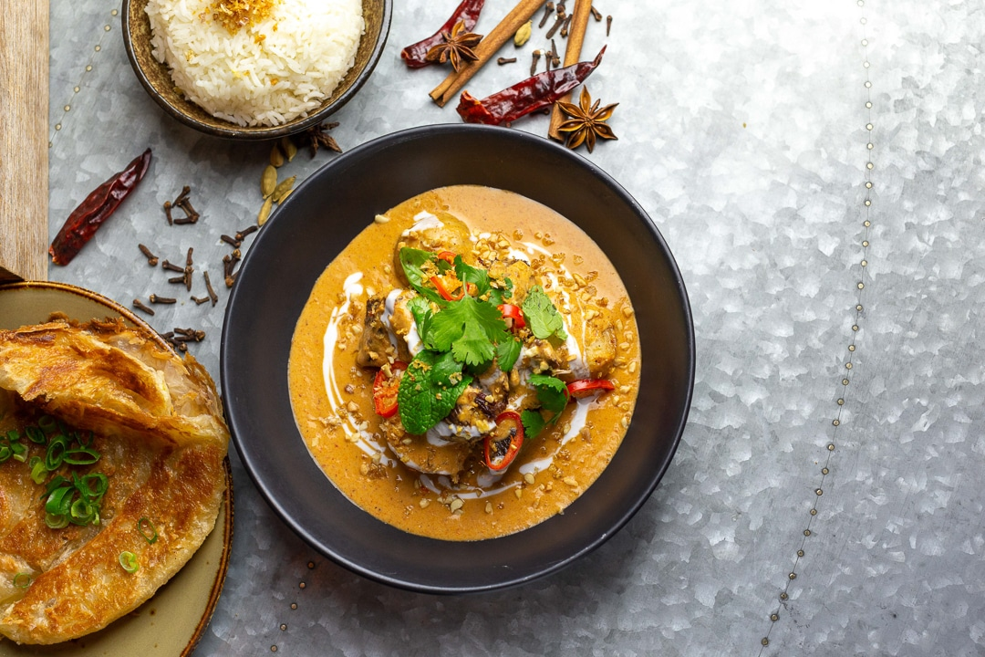 Foodie Shots Food Photography A massaman curry from Junk cafe served with rice and naan bread