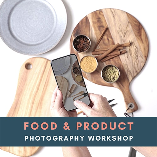 Food and product workshop photography image - mobile phone take picture of food serving and cutting boards