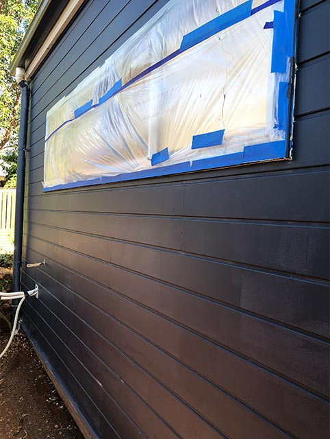 rear of studio painted