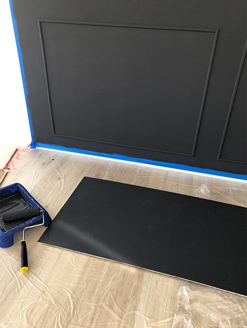 chalk board and backdrop painted