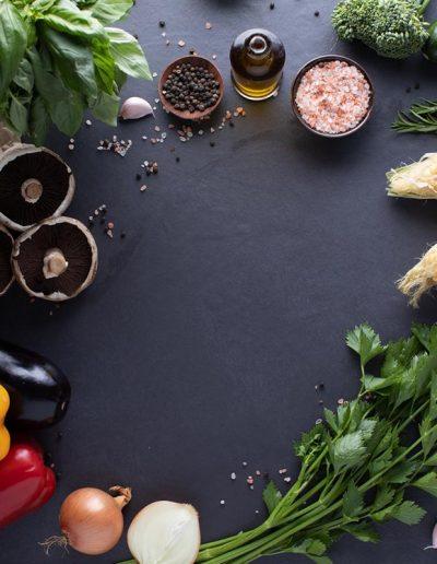 Vegetables on black tile