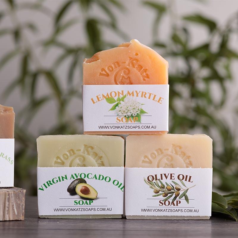 Three bars of soap on display Von Katz Soap