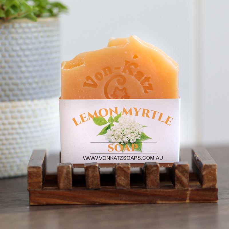Bar of lemon myrtle soap - Von Katz Soaps Product Photography