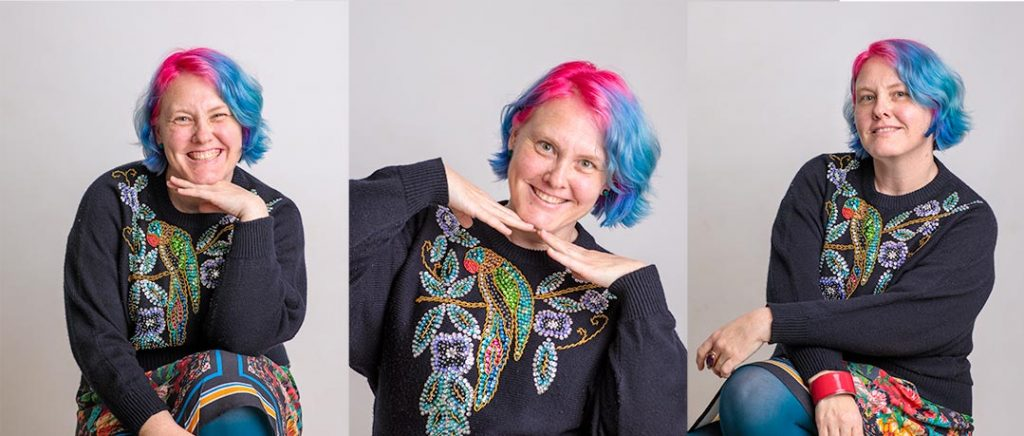 carousel of images of Heidi from Foodie Shots posing with blue and hot pink hair and colourful shirt